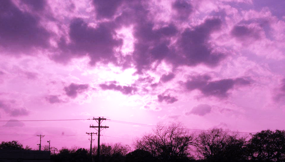 Photo of the sky filtered with a purple color layer