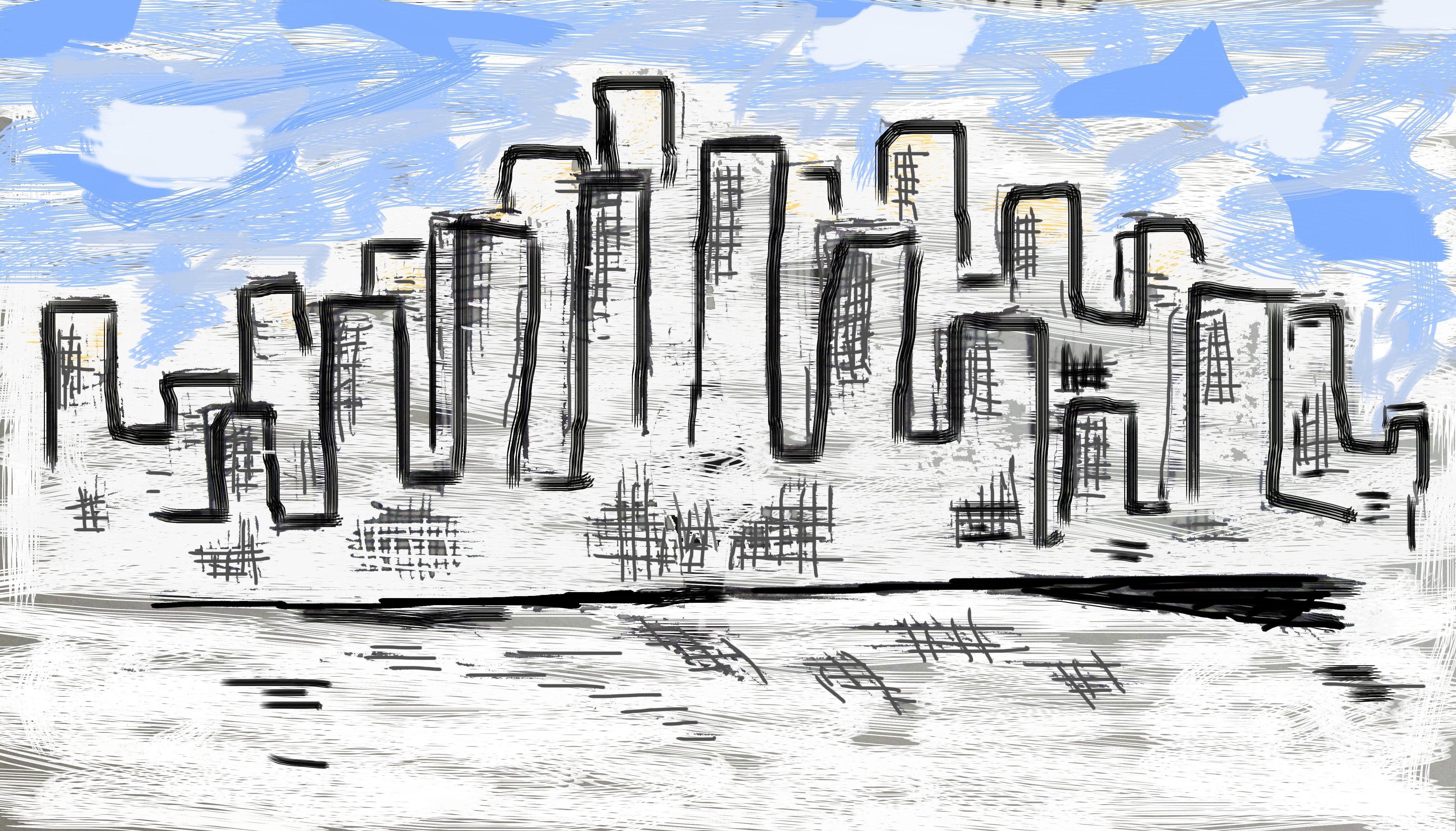 Sketch of a city skyline