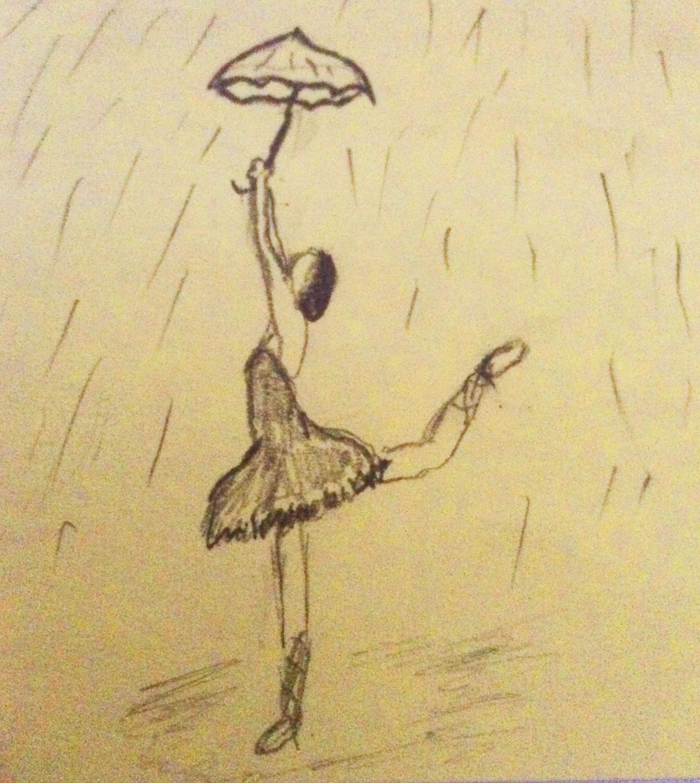 Sketch of a girl dancing in the rain