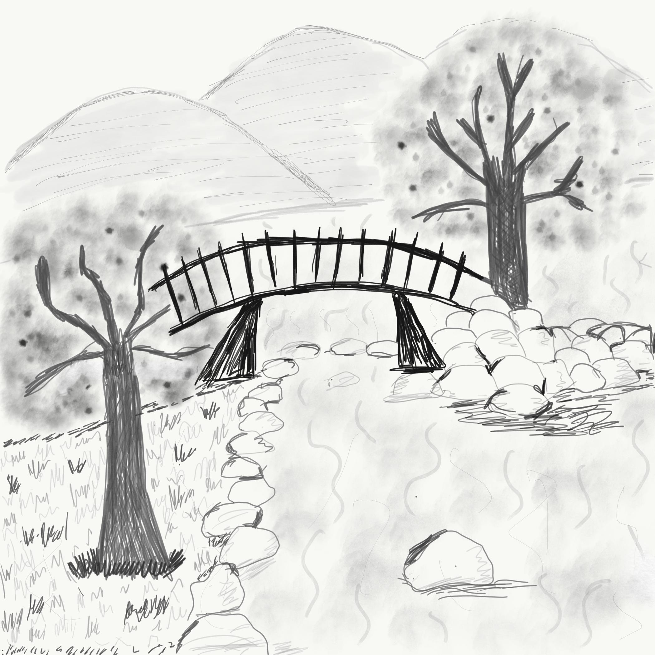 Sketch of trees and bridge