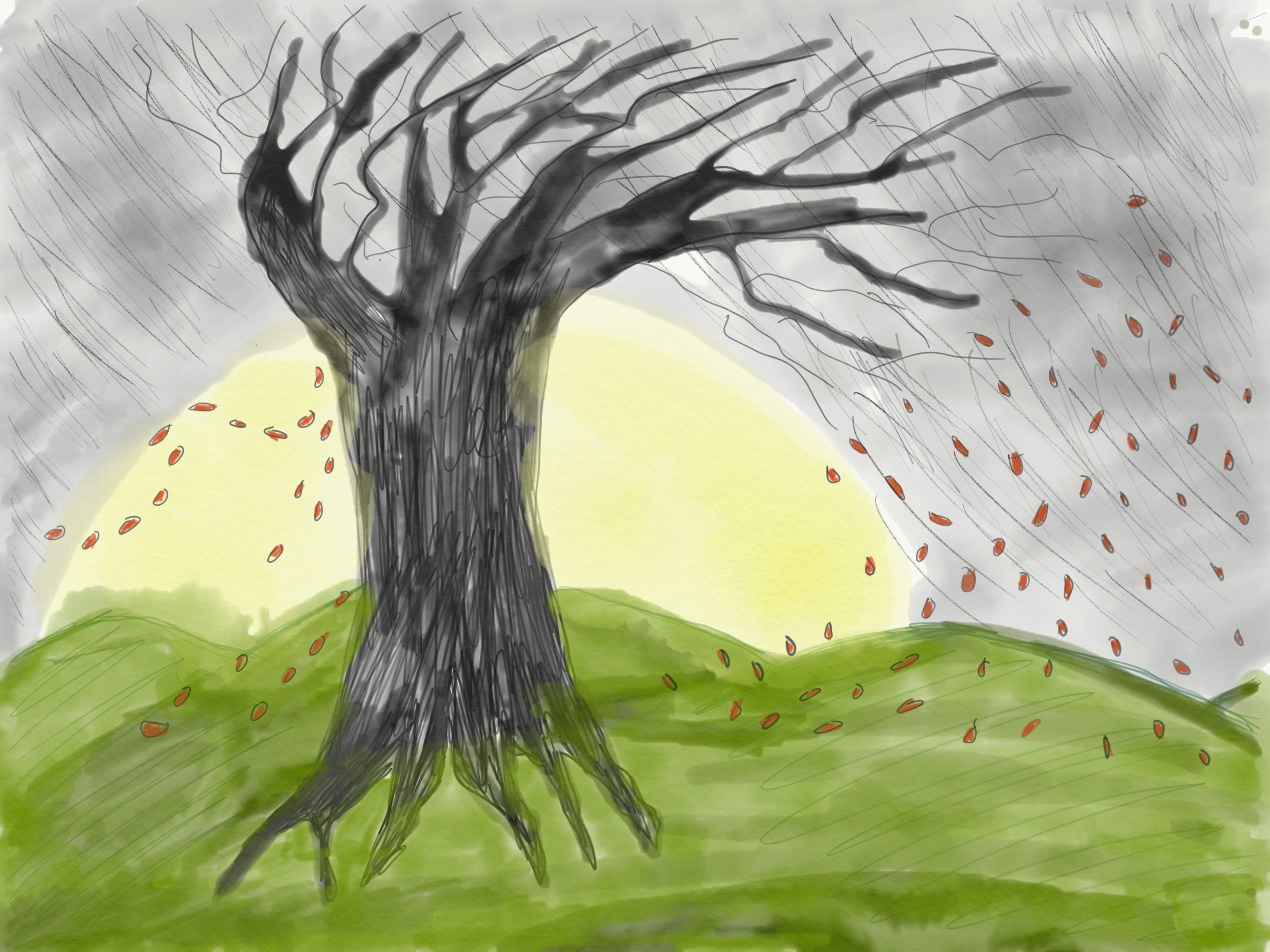 Drawing of a tree during a storm