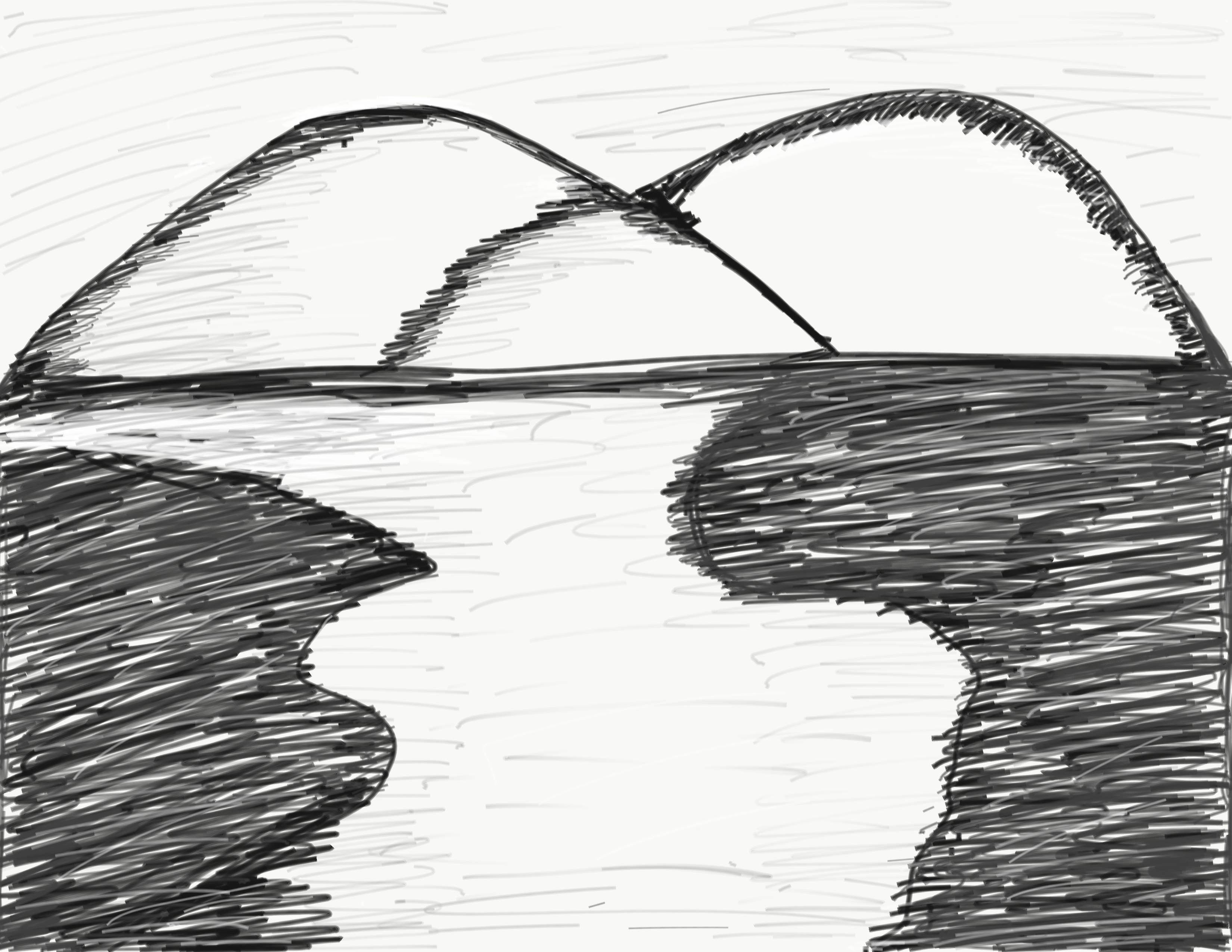 Sketch of mountains and water