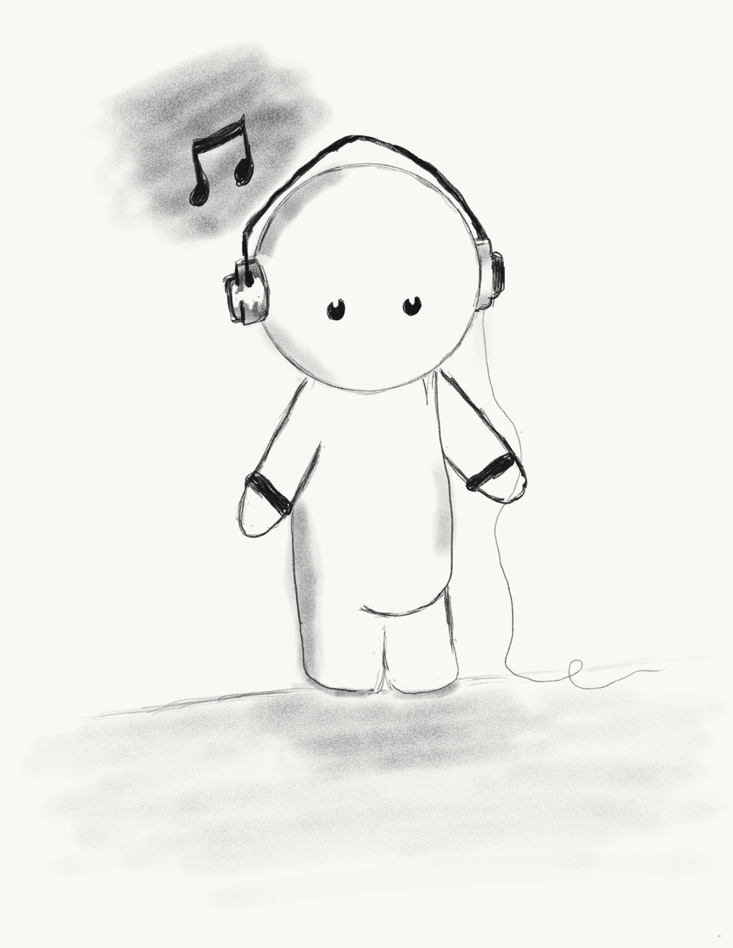 Cartoon sketch of a boy listening to music