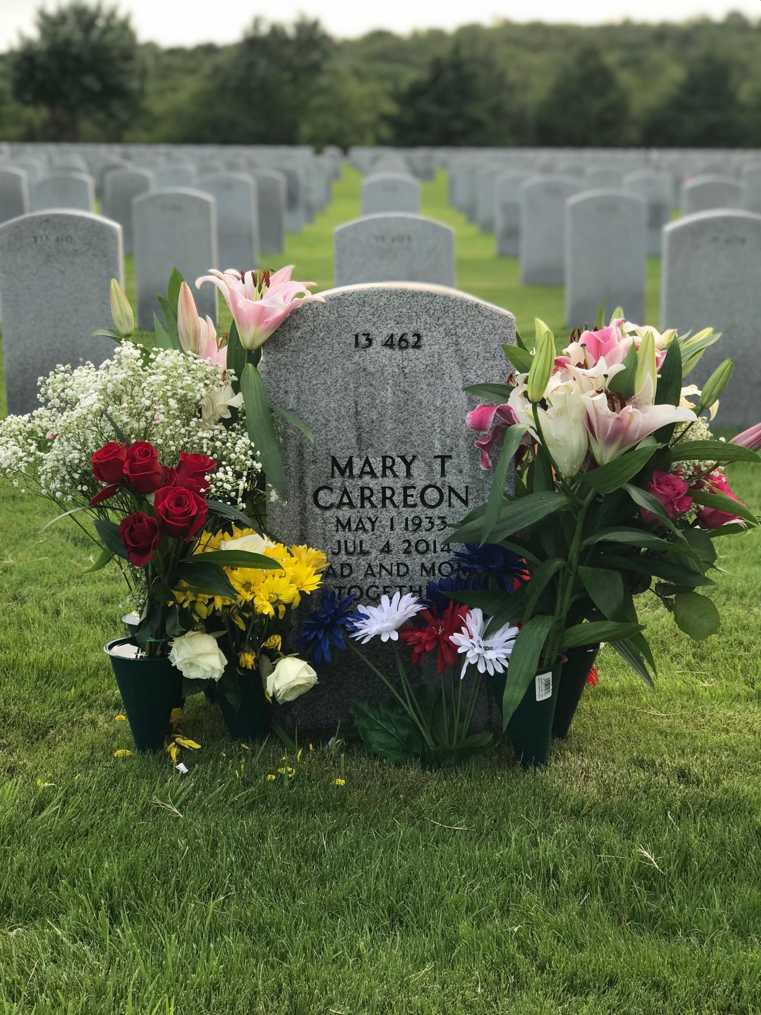 A gravestone in a cemetery