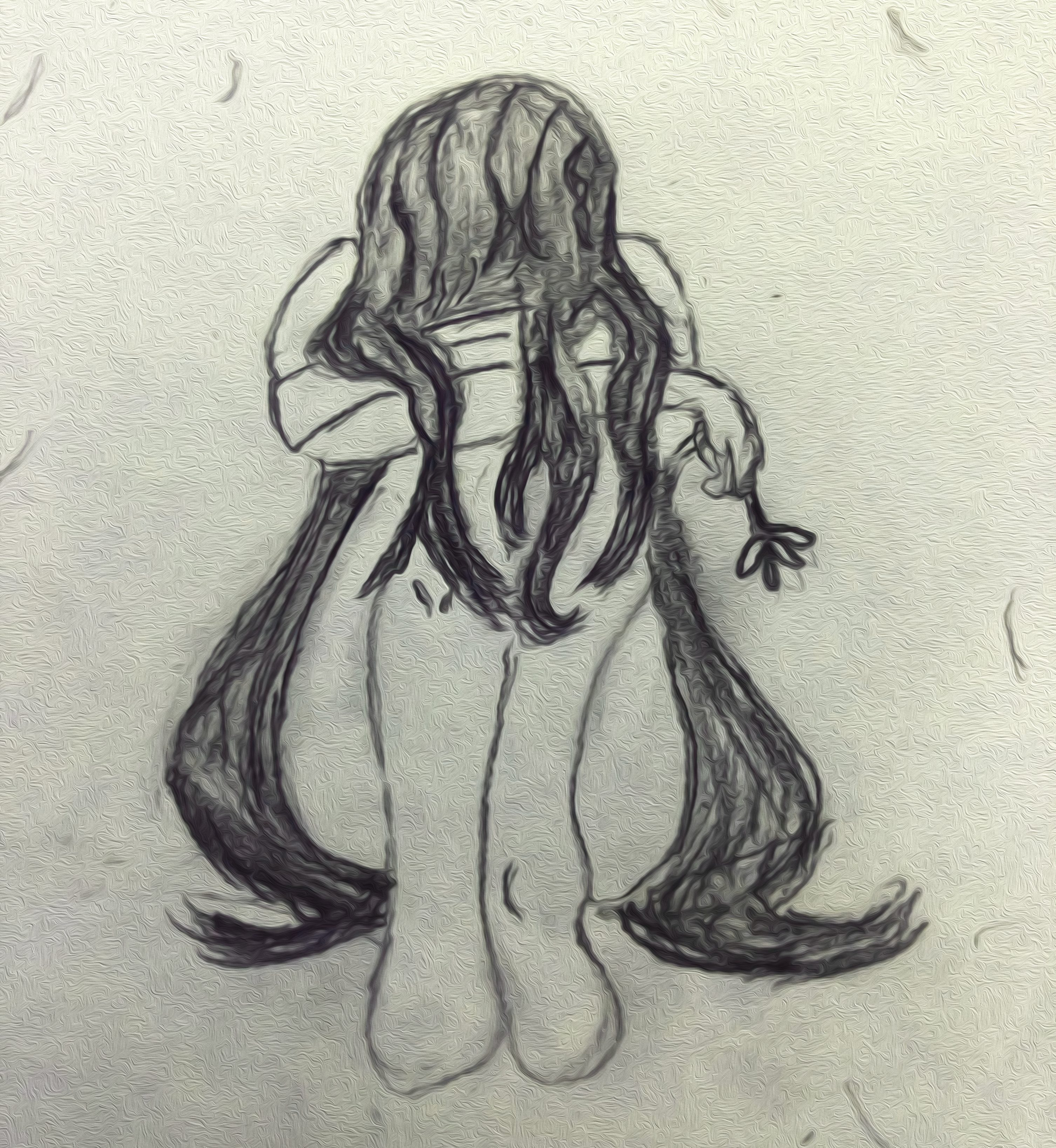 Sketch of a woman crying