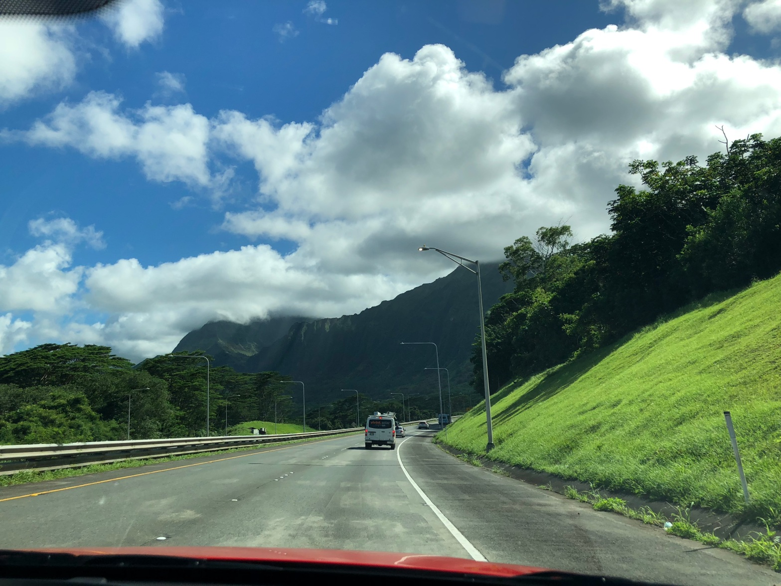 Driving by the mountains in Oahu, Hawaii