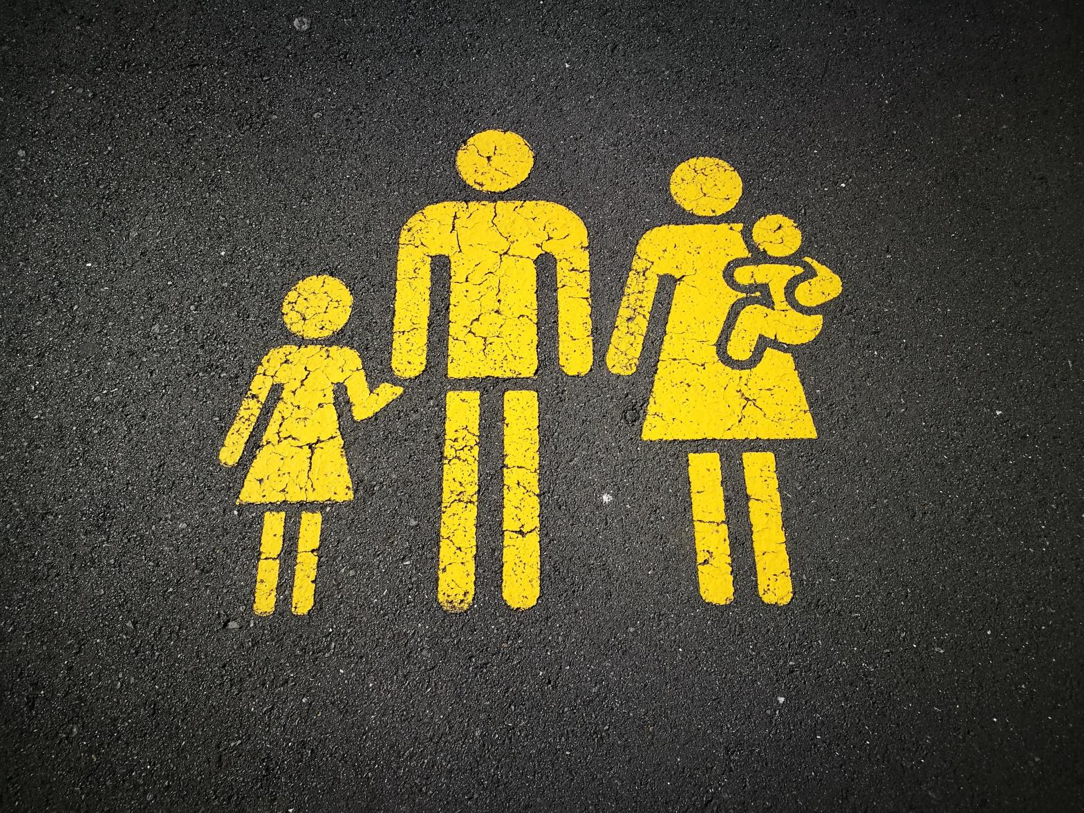 Yellow family parking illustration